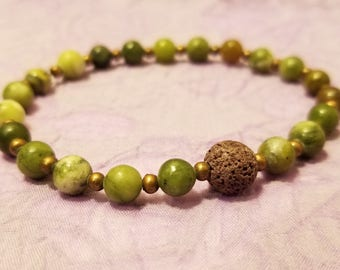 Custom, Green & Purple Lava Rock Bracelet - Essential Oil or Perfume Diffuser