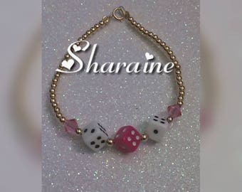 Pink and White Mixed Dice Bracelet