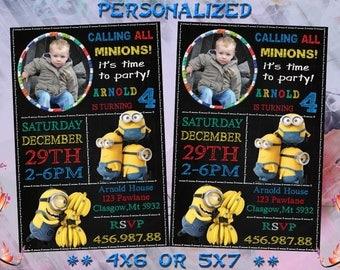 Minion Invitation, Minion Party, Minion Birthday Invitation, Minion Birthday Party, Boy Girl Minion Invitation