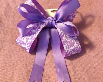 "Cheer Bow, Blue Hair Bow, Fancy Bow, Girls Hair Bows, Boutique bow, Purple Bow, Girls hair bow,  Lavender Bow, Pinwheel Bow, 6"""