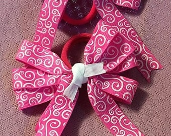 Boutique Bow, Hair Bow, Pink Bow, Stacked Boutique, Fancy Bow, Easter Bow, Hair Tie, layered over the top, Pink and White Swirls, 4 1/2""