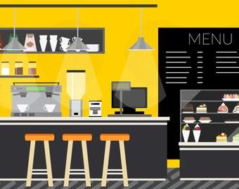 Complete cafe shop Vector Illustration SVG + PNG