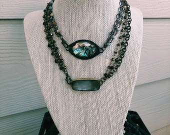 Abalone or Mother of Pearl Choker/Wrap Bracelet