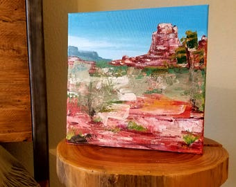 The Red City - Desert Landscape Painting - 12x12 inches - acrylic