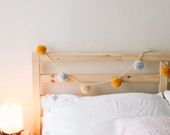 Pompom Garland. Mustard grey cappuccino beige, neutral sunny decoration, banner or bunting, perfect for university dorm room, wool, handmade