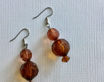 Amber Crystal Beads. -  Artisan Crafted Drop Earrings