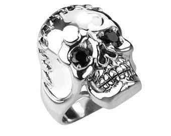 Men's Skull Ring in Solid Sterling Silver