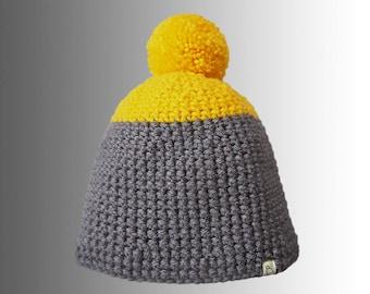 Handmade Colour Block Crochet Warm Winter Bobble Hat Bright Yellow Pompom Hat