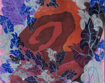 Roses Lotus 1-collage and drawing on watercolor paper