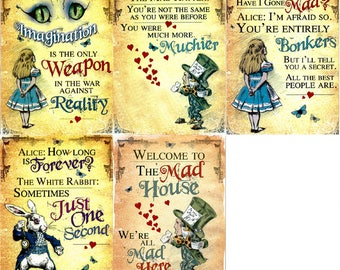 Set of 5 Alice in Wonderland Fridge Magnets