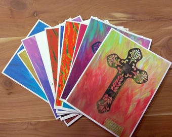 Set of 10 Blank Note Cards with Variety of Cross Graphics on Front