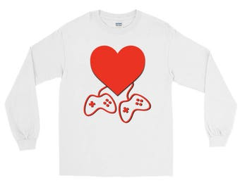 Video Game Lovers Valentines Day Long Sleeve T-Shirt