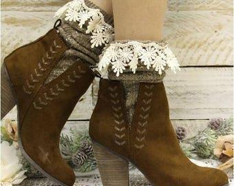 Boot socks, TWEED, Brown,scrunchy socks, slouch socks, bootie socks, cute, lace, lacy, slouchy, scrunchy, winter, fall,spring, ladies, women