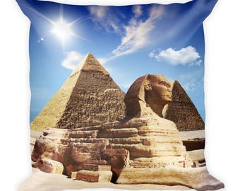 The Great sphinx and pyramids Square Pillow