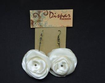 White Rose Earrings satin earrings spanish style woman jewelry birthday gift anniversary present elegant earrings long earrings