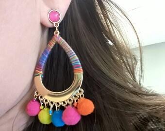 Rainbow tear drop earring