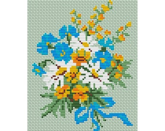 Cross Stitch Pattern Bouquet of spring flowers counted embroidery