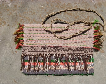 Weaving handbag,rag rug bag,handmade and unique, boho bag,crossbody bag
