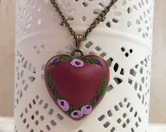 Floral, roses, polymer clay pendant, Valentine's Day gift