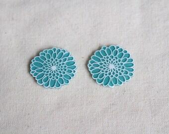 Flower Stud earrings, Dahlia earrings, Hand painted earrings, Colorful Stud earrings, Unique Stud earrings, Art earrings