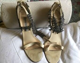 Gorgeous Manolo Blahnik stiletto shoes with double chain wrap
