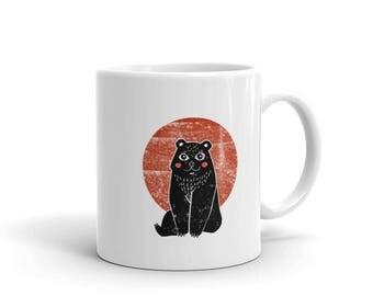 Vintage Bear Animal Linocut Art Mug
