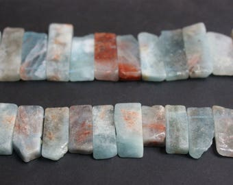 9-10mm width X 18-25mm length Natural Aquamarine Slabs Slices nugget smooth ,loose beads,semi-precious stone,15 Inches Full strand