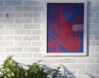 Charleston, SC map 18x24 laser-cut print, red on indigo