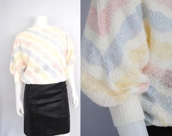 80s Pastel Stripe Bat Wing Sweater, Vintage Slouchy Knit Sweater With Diagonal Stripes In Pastel Pink, Blue, And Yellow