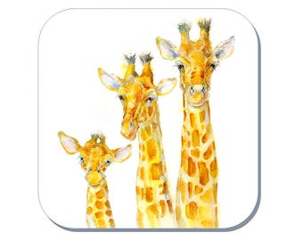 Family Matters - Giraffe Coaster (Corked Back) - from an original Sheila Gill Watercolour Painting