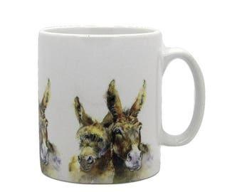 Double Trouble - Ceramic Donkey Mug. Handmade printed onto Durham style mug from an Original Sheila Gill Watercolour