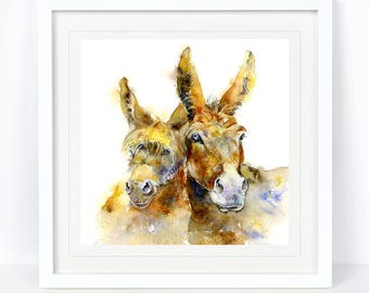 Double Trouble - Donkey Print Limited Edition Print from an Original Sheila Gill Watercolour. Fine Art, Giclee Print,Hand Painted,Home Decor
