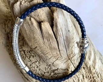 Blue leather and silver bracelet