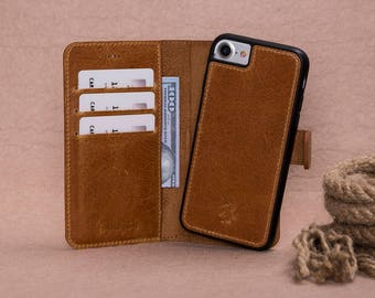 iPhone 8 Tan Color Geniune Leather Wallet Detachable Case with Magnetic Closure,Card and Cash Holders.