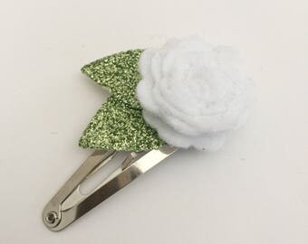 White Flower Snap Clip - Wool Felt - Snap Clips - 50mm Clips -