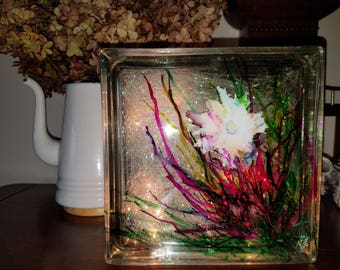 Hand painted alcohol ink glass block.