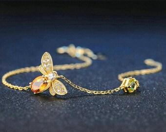 Bee Peridot Gold Chain Bracelet