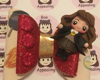 Double layer glitter hair bow with clay figure, hermione hair bow, glitter hair bow, wizard hair bow
