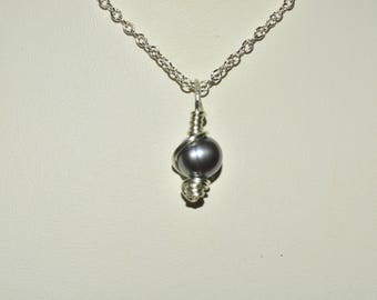 Sterling Silver wrapped freshwater pearl