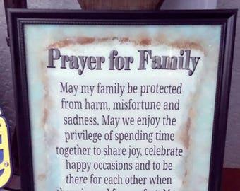 Prayer for family picture frame
