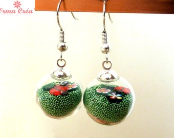 "Earrings ""Spring time"" glass globes"