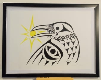 Coast Salish Raven and sunlight Design print - Limited Edition