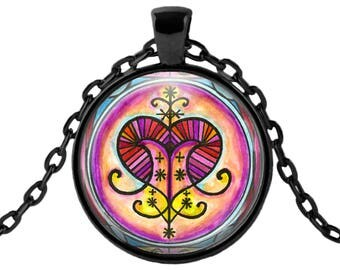 "Erzulie Freda Lwa Veve for Love Magick Voodoo Glass Talisman Necklace Pendant in 1"" Round  2"" Huge Oval"