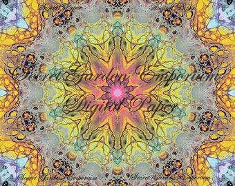 Digital Paper #37 - Original Scrapbook, Decorative Paper, with a Psychedelic Kaleidoscope  Pattern