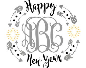 New year svg, svg new year, monogram new year, new year monogram, happy new year, 2018 svg, svg 2018, new years eve svg, svg new years eve,
