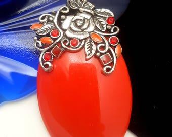 Vintage Silvertone Chunky Red Pendant