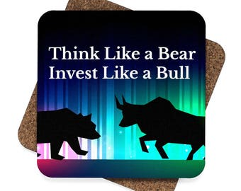 WALLSTREET CREATIONS - Stock Market -Client Appreciation -  Think Like A Bear Invest Like A Bull  Square Hardboard Coaster Set  4Pcs