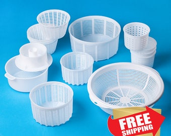 Set of 13 Assorted Molds for Cheesemaking | Universal molds for Soft/Hard Cheese | Perfect cheese mold