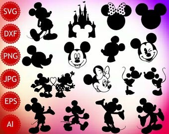 Mickey Mouse SVG, Mickey Mouse Silhouette, Mickey Mouse Printable, Instant Download