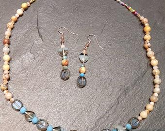 Semi-precious beaded jewellery set